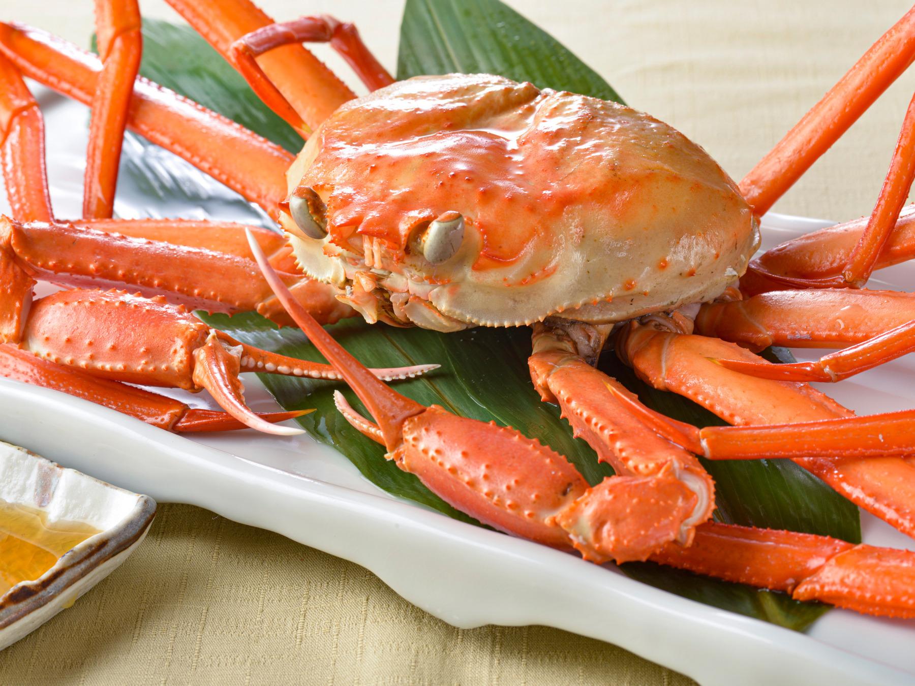 【夕食・朝食付】かに姿がお一人に1杯ずつ付いた天然桜鯛と赤穂産カキの豆乳鍋御膳|3月まで