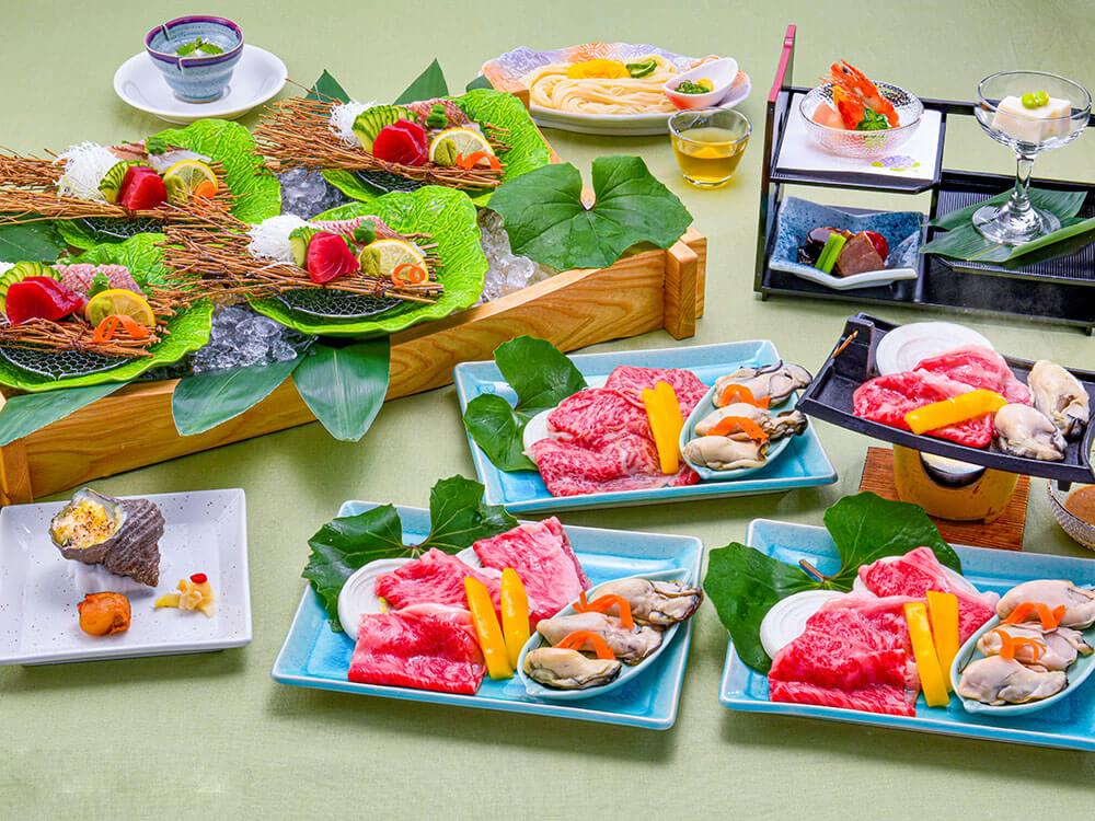 【夕食・朝食付】とろける『近江牛の焼きしゃぶ』&甘い『播磨灘産天然鯛のお造り』御膳|8月まで