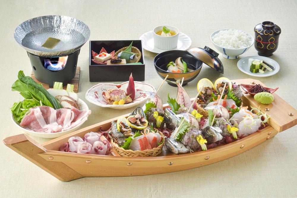 【夕食・朝食付】(飲み放題付)松茸、金目鯛やふじのくにポークも楽しめる旬の地魚お造り会席|11月迄