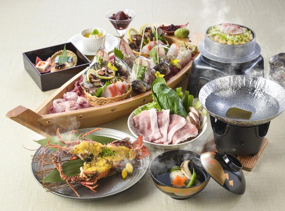 【夕食・朝食付】料理グレードアップ|旬の食材や銘柄豚、伊勢海老、地魚お造りのついた特選会席|11月迄
