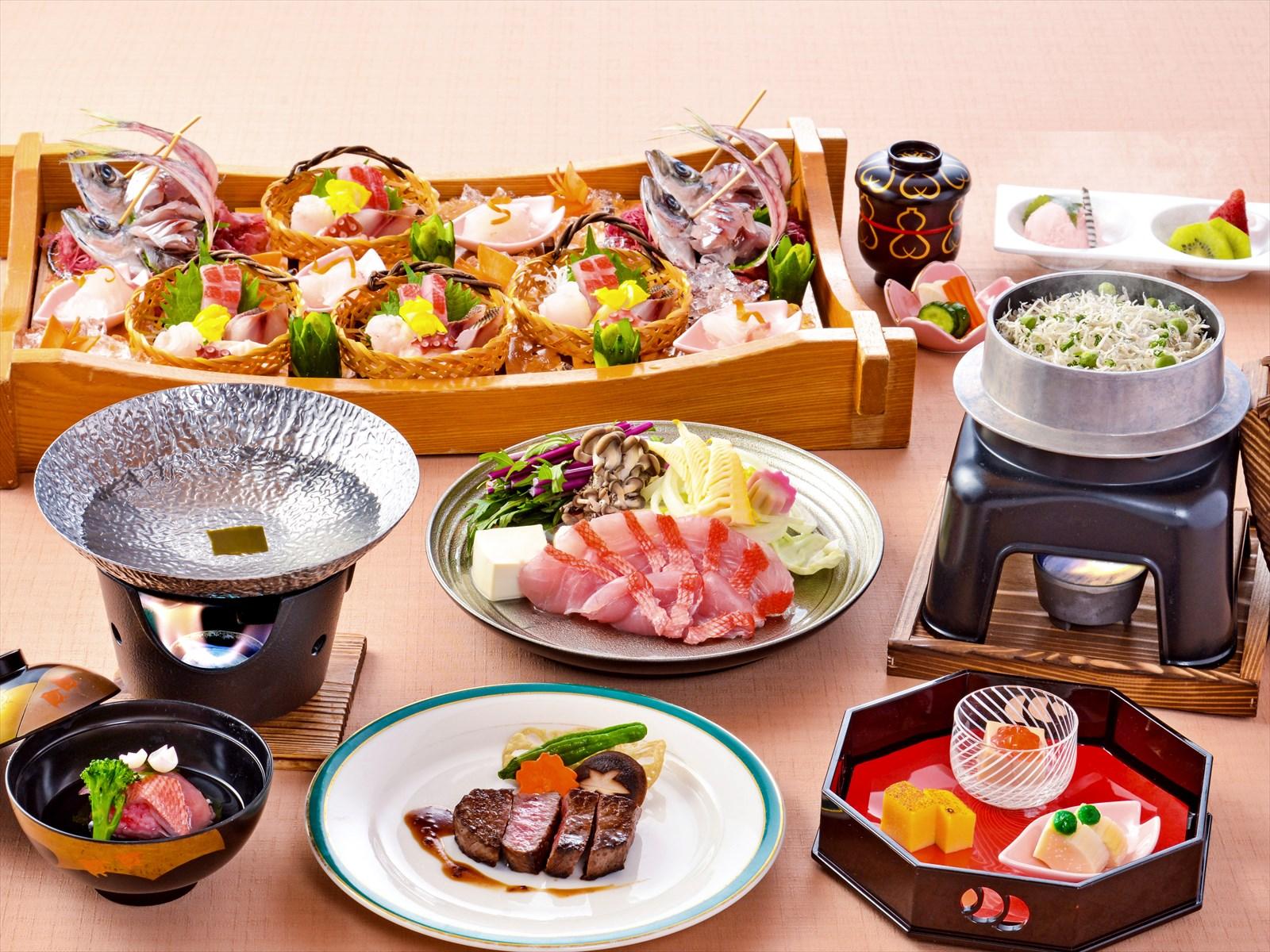 【夕食・朝食付】あしたか牛フィレステーキと金目鯛しゃぶしゃぶ 特撰会席|5月まで