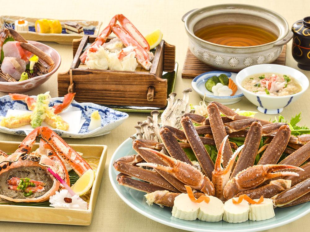 【夕食・朝食付】焼き・刺し・蒸し・天ぷら・お鍋でカニが楽しめる蟹尽くし特選会席|3月まで