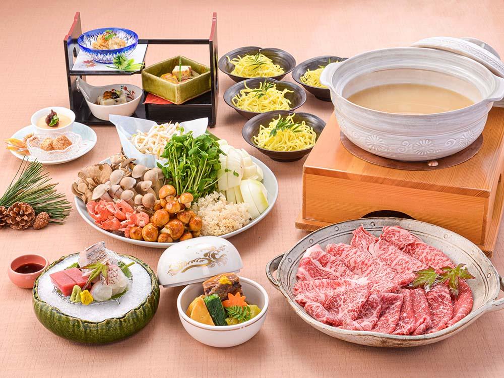 【夕食・朝食付】キノコ香る♪ 近江牛食べ比べ白湯鍋おすすめ御膳 11月まで