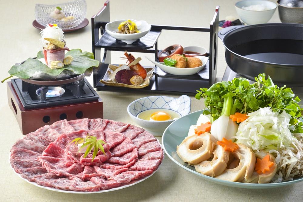 【夕食・朝食付】(飲み放題付)富士の恵みたっぷり 和牛すき焼きがメイン料理の和洋御膳 11月まで