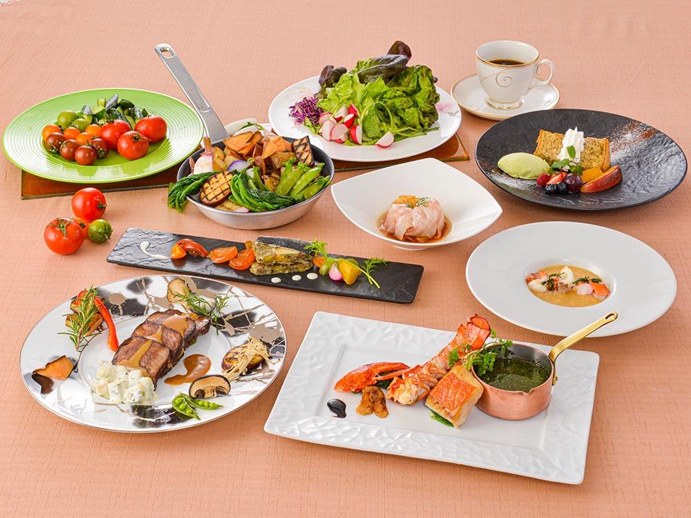 【夕食・朝食付】オマール海老と金目鯛に仔牛タンも味わえる箱根山麓野菜のビュッフェ付おすすめコース