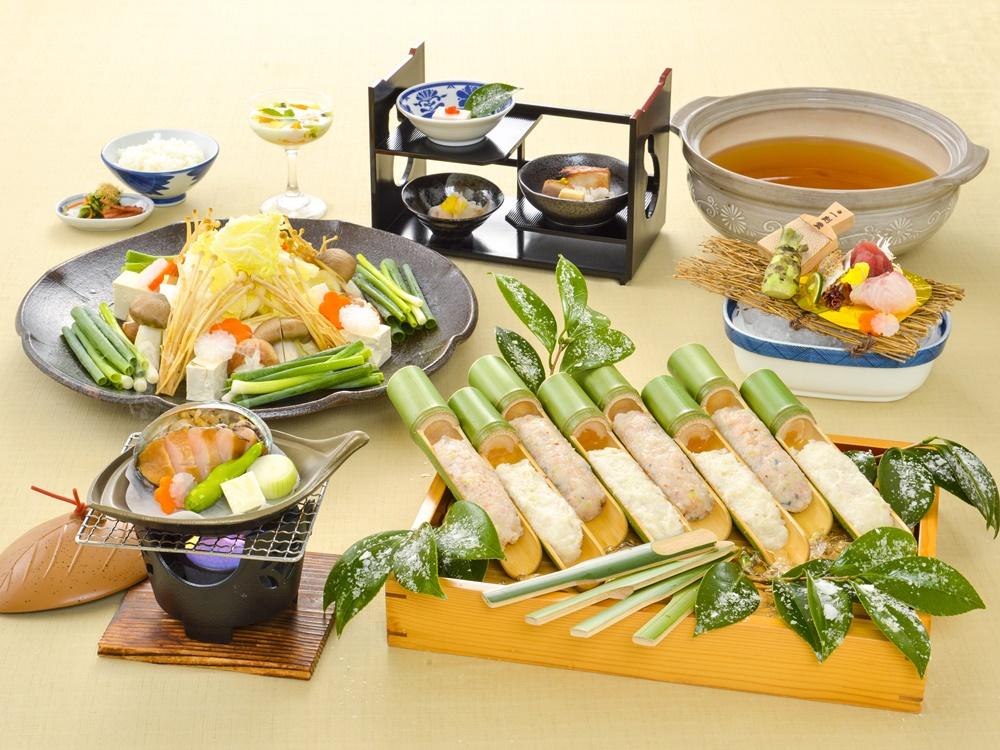 【夕食・朝食付】鮑陶板焼き付き、桜海老つみれと地魚根菜つみれの温か香る生姜鍋おすすめ御膳  2月まで