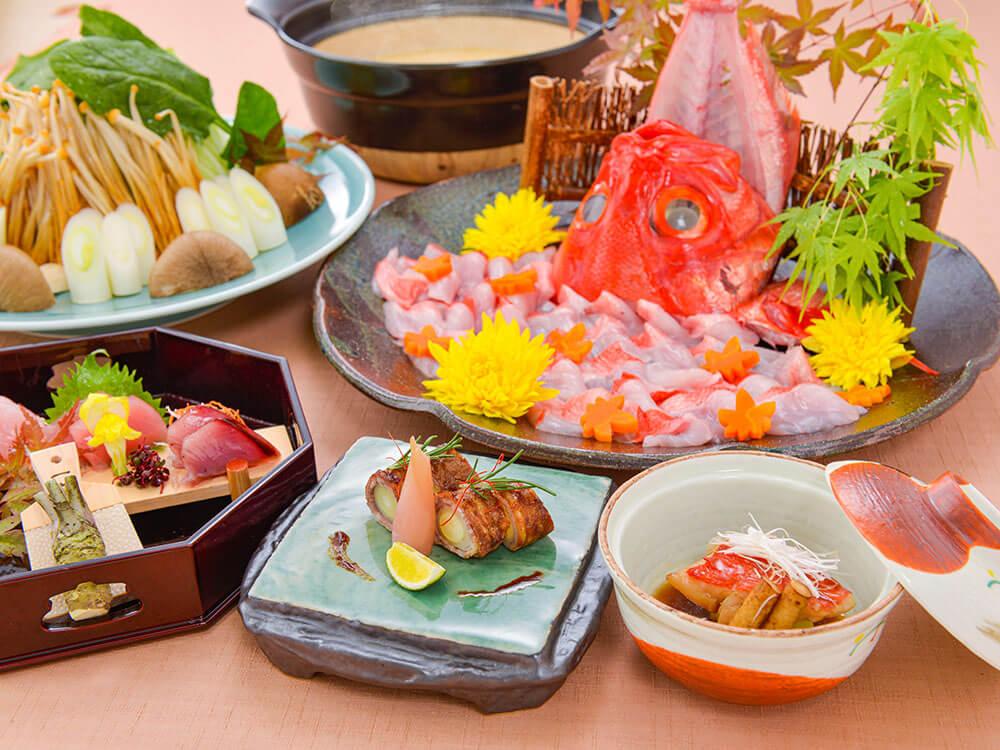 【夕食・朝食付】近江牛八幡巻と金目鯛の煮付け付き 金目鯛胡麻味噌鍋おすすめ御膳 11月まで
