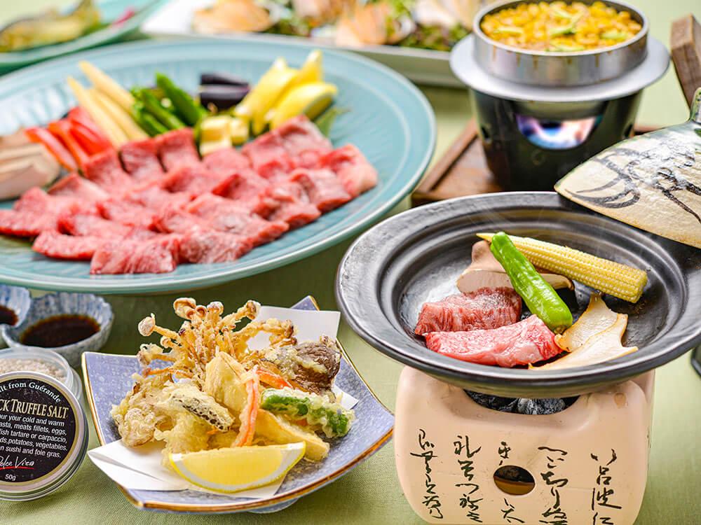 【夕食・朝食付】料理グレードアップ☆近江牛と鮑の陶板焼き特選御膳|8月まで