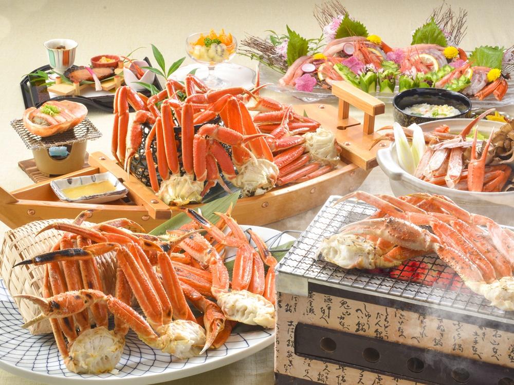 【夕食・朝食付】ズワイガニの焼きがに・茹でガニが、食べ放題『ずわい蟹特撰御膳』|3月まで