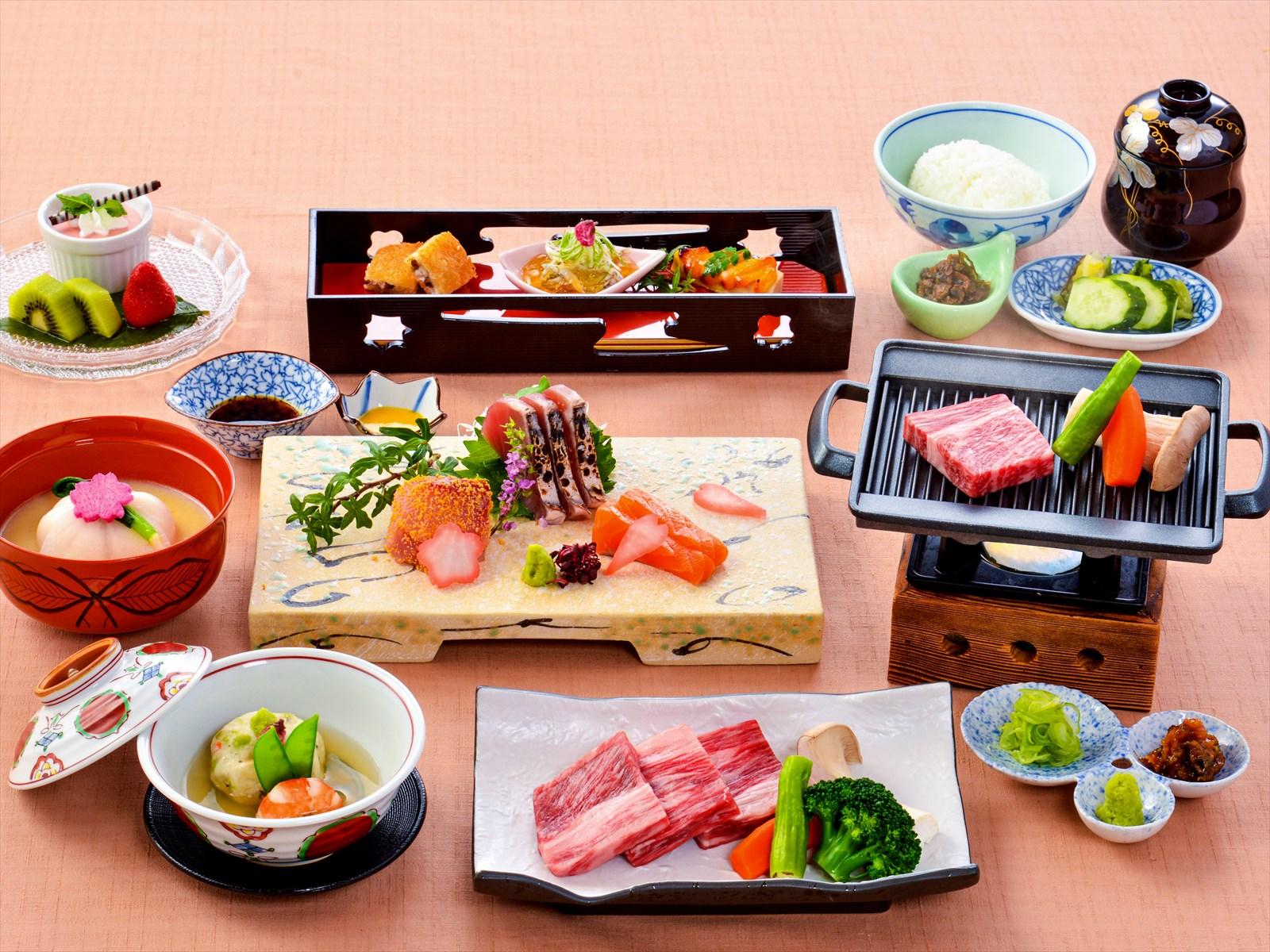 【夕食・朝食付】滋賀県産黒毛和牛の鉄板焼きのおすすめ会席 5月まで