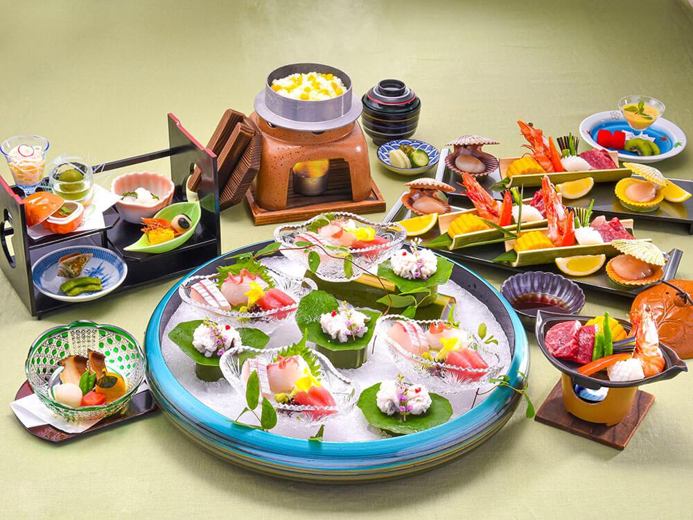 【夕食・朝食付】鮑付!自慢の地魚お造りと『近江牛』の陶板焼きおすすめ御膳 8月まで